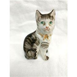 19thc Staffordshire Figure, Grey Tabby Cat