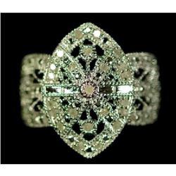 Art Deco Style Sterling & Diamond Ring