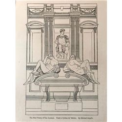 19thc Line Drawing Bookplate Print, Tomb of de' Medici, Florence