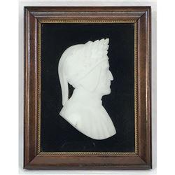 1920's Italian Alabaster Cameo Silhouette, Bust of Poet Dante, Divine Comedy