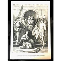 19thc Engraving Print, The Madonna Del Rosso, Florence, Pitti Palace