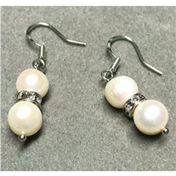 7-8mm Freshwater Pearl & Crystal Sterling Silver Earrings