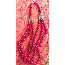 Natural Ruby Gemstone Beads Triple Stand Necklace
