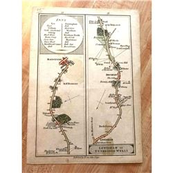 Rare Late 1700's English Road Maps, Lewisham To Turnbridge Wells