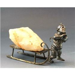 Antique c1900 German Silver Plate Figure Gnome Pulling Sled & Rose Quartz Crystal