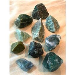 Group of Rough Green Display Gemstones