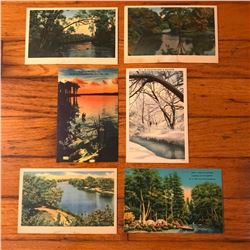 Set of 6 Vintage Circa Early 1900's Camping Travel Postcards