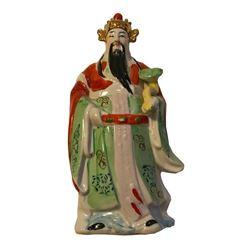 Vintage Chinese Porcelain Deity Statue, Sanxing Fu Lu Shou Figure