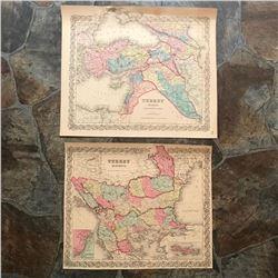 Pair of 19thc Maps, Turkey In Europe & Turkey In Asia