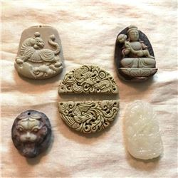 Group of Chinese Composite Stone Pendants