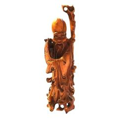 Chinese Carved Boxwood Scholar Immortal Statue Figure