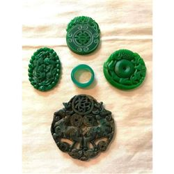 Group of Chinese Carved Green Stone Medallions, Pendants