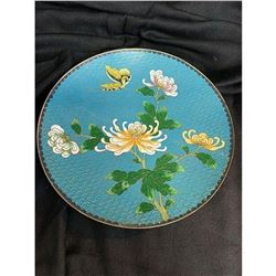 Antique Chinese Chrysanthemums & Butterfly Cloisonne Charger Plate