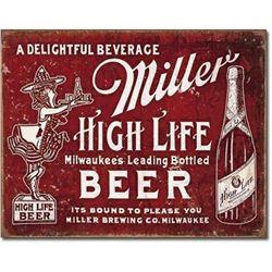 Vintage-style Miller High Life Metal Pub Bar Sign