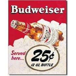 Vintage-style Budweiser Beer Metal Pub Bar Sign