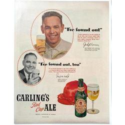 1947 Carling's Red Cap Ale, Jack Kramer Tennis Champion Magazine Ad