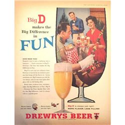 c.1960 Mid-century Indiana Brewery Drewrys Beer Ad