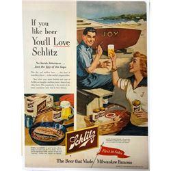 1953 Schlitz Beer Magazine Advertisement