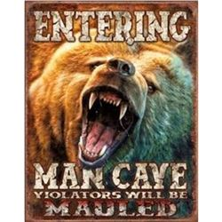 Entering Man Cave - Grizzly Bear, Pub Bar Metal Sign