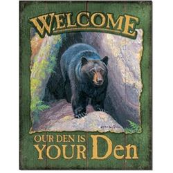 Welcome, Our Den Is Your Den Metal Pub Bar Sign