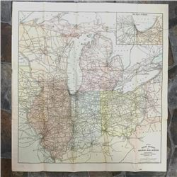 Early 1900's Chicago, Illinois, Ohio Indiana Ninth Division Railway Mail Service Map