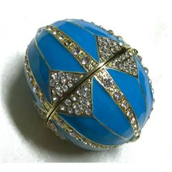 Light Blue Enamel & Crystal Jewel, Trinket Box Egg