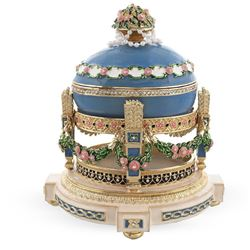 Faberge-Style Love Trophies Royal Russian Music Box, Trinket, Jewel Box Egg