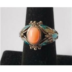 Antique Chinese Export Sterling Cannitille Filigree Enamel Butterfly Coral Ring