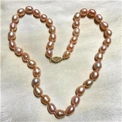 "8-9mm Natural Baroque Pink Pearls 14kt Gold 18"" Necklace"