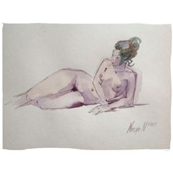 Original Nude Study Watercolor Painting