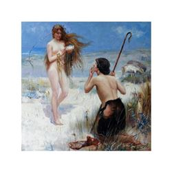 After Hacker, Oil on Canvas Painting, The Sea Maiden, Mermaid & Shepherd
