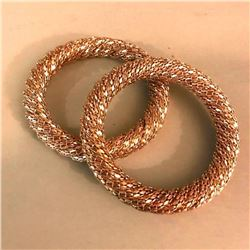 Pair of Modern Woven Gold Plated Fashion Bangle Bracelets
