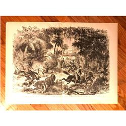 19thc Wood Engraving, General Drayton, Confederate Retreat, Fort Walker Hilton Head SC