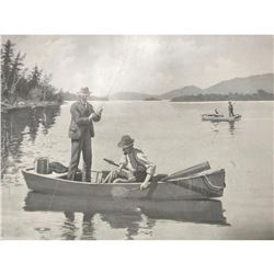 Early 1900's Half-tone Print, A. B. Frost, Black Bass Fishing