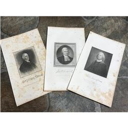 19thc Engravings of 18thc Famous Statesmen from New York, New Jersey, Massachusetts