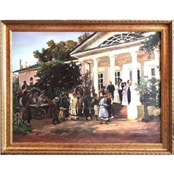 Large Late 20thc Wedding Party Oil Painting