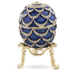 Russian Enamel & Gilt Quartz Clock, Trinket Jewel Box Egg