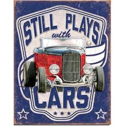Still Plays With Cars, Metal Garage Pub Bar Sign