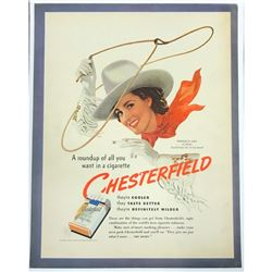 1940 Chesterfield Cigarettes Cowgirl Ad