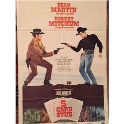 Original 1968 Western Movie Poster, 5 Card Stud, Robert Michum Dean Martin