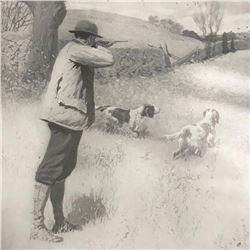 Early 1900's Half-tone Print, A. B. Frost, On The Wing, Hunting Scene