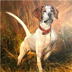 20thc Hunting Dog Oil Painting