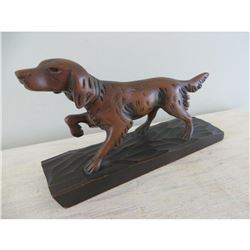 Vintage Handcarved Wood Hunting Dog Sculpture