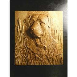 Carved Wooden Plaque, Hunting Dog & Cattails
