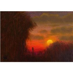 Student of Cole, Sunset Landscape Oil Painting