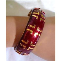 Authentic Vintage Designer LANVIN Paris Burgundy Gold Hinged Clamper Cuff Bracelet