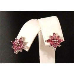 1.64ct Rhodolite Garnet Sterling Silver Earrings