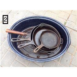 LOT OF 4 CAST IRON FRY PANS