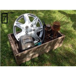 """VERY OLD SHIPPING BOX WITH 2 RUSTY OLD BARN LANTERNS. (""""TO GROSSER & GLASS PRINCE ALBERT"""" ON THE BOT"""
