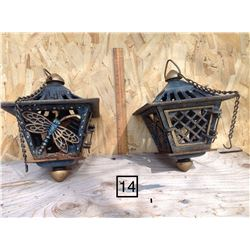 CAST IRON OUTDOOR HANGING LAMPS FOR CANDLES, DRAGONFLY MOTIF